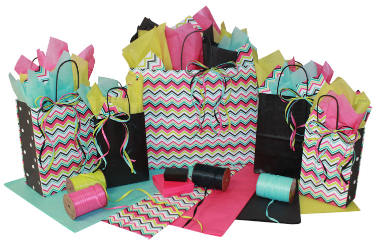 Chevron Stripes Paper Shopping Bags