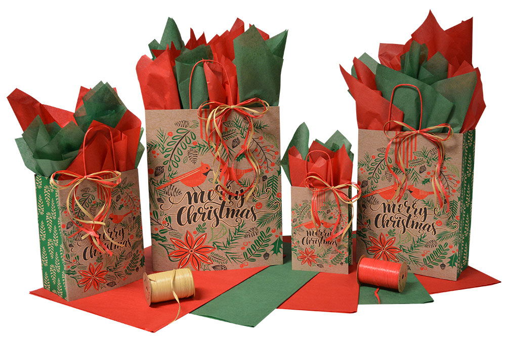 Cardinal Christmas Paper Shopping Bags