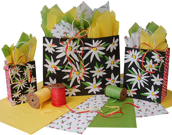 Daisies and Ladybugs Paper Shopping Bags