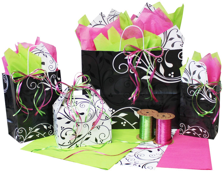 Berry Flourish Black Paper Shopping Bags