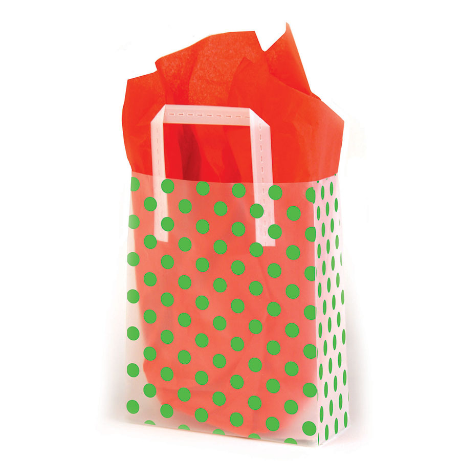 Green Dots Frosted Shopping Bags