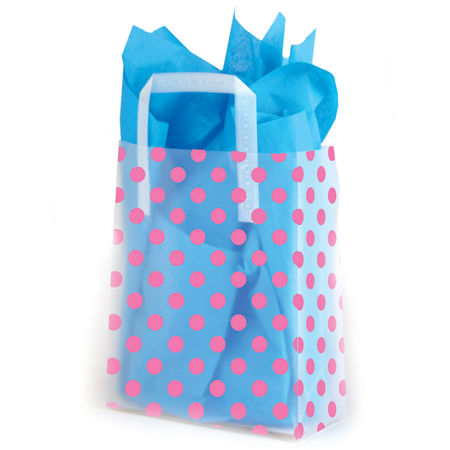 Pink Dots Frosted Shopping Bags