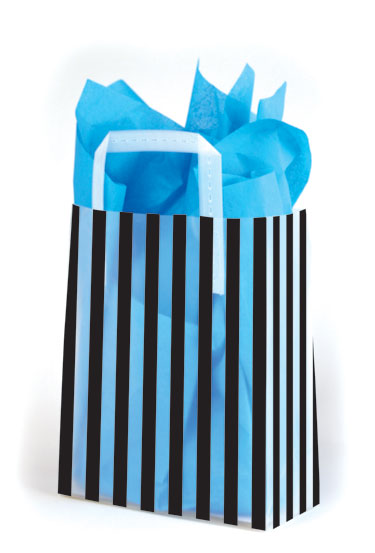 Black Stripes Frosted Shopping Bags