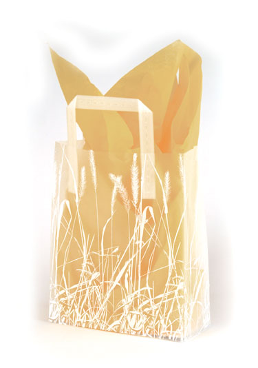 Grassy Meadow Frosted Shopping Bags
