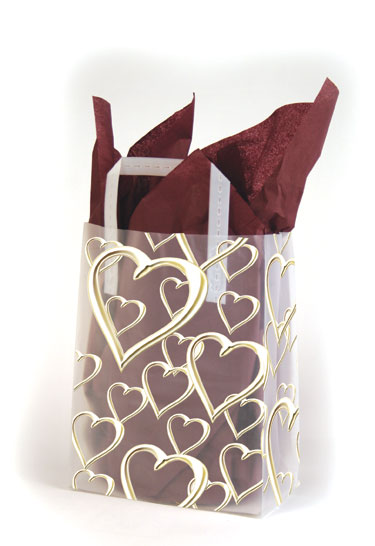 Golden Hearts Frosted Shopping Bags