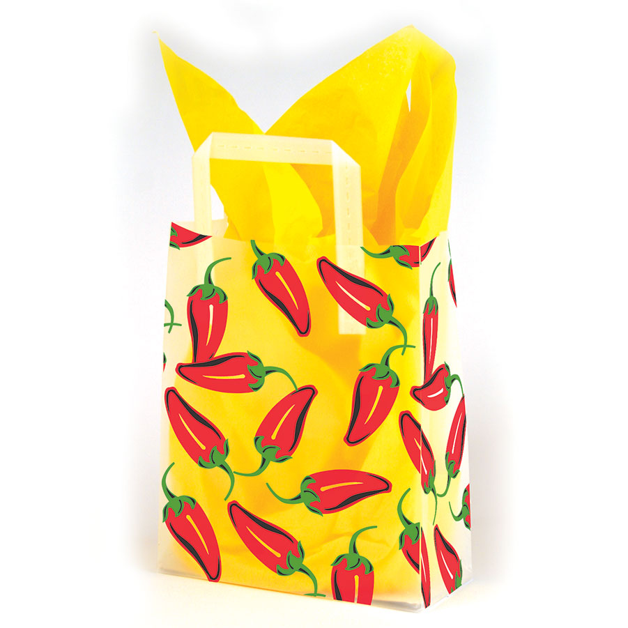 Chili Peppers Frosted Shopping Bags