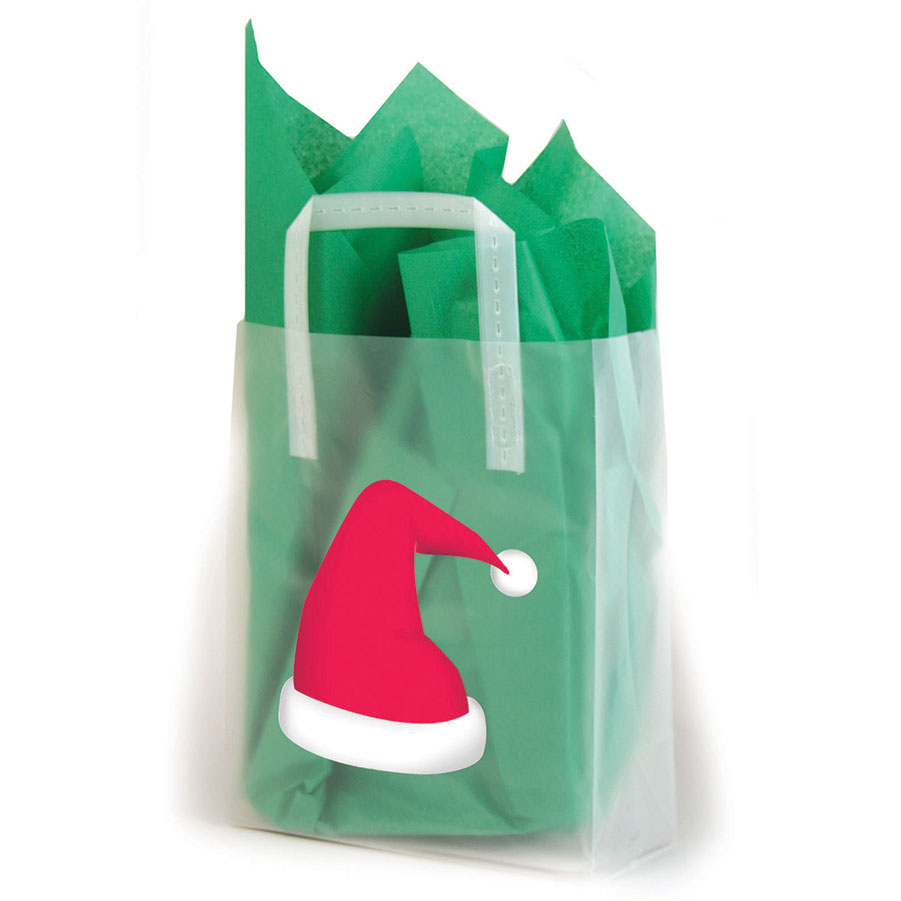 Christmas Hat Frosted Shopping Bags