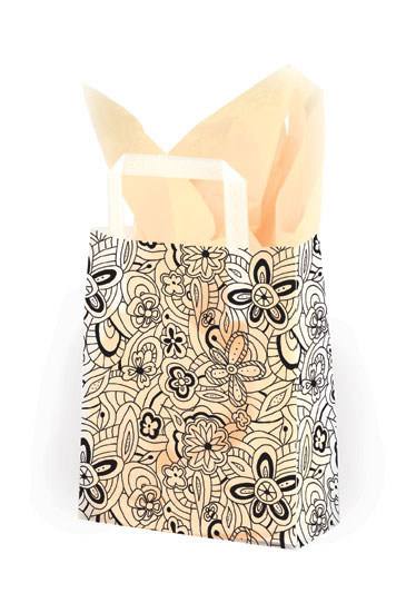 Floral Sketch Frosted Shopping Bags