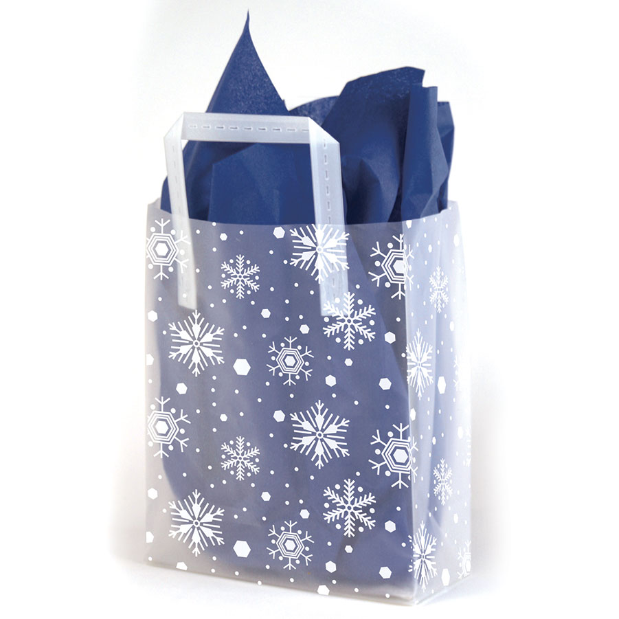 Snowflake Frosted Shopping Bags