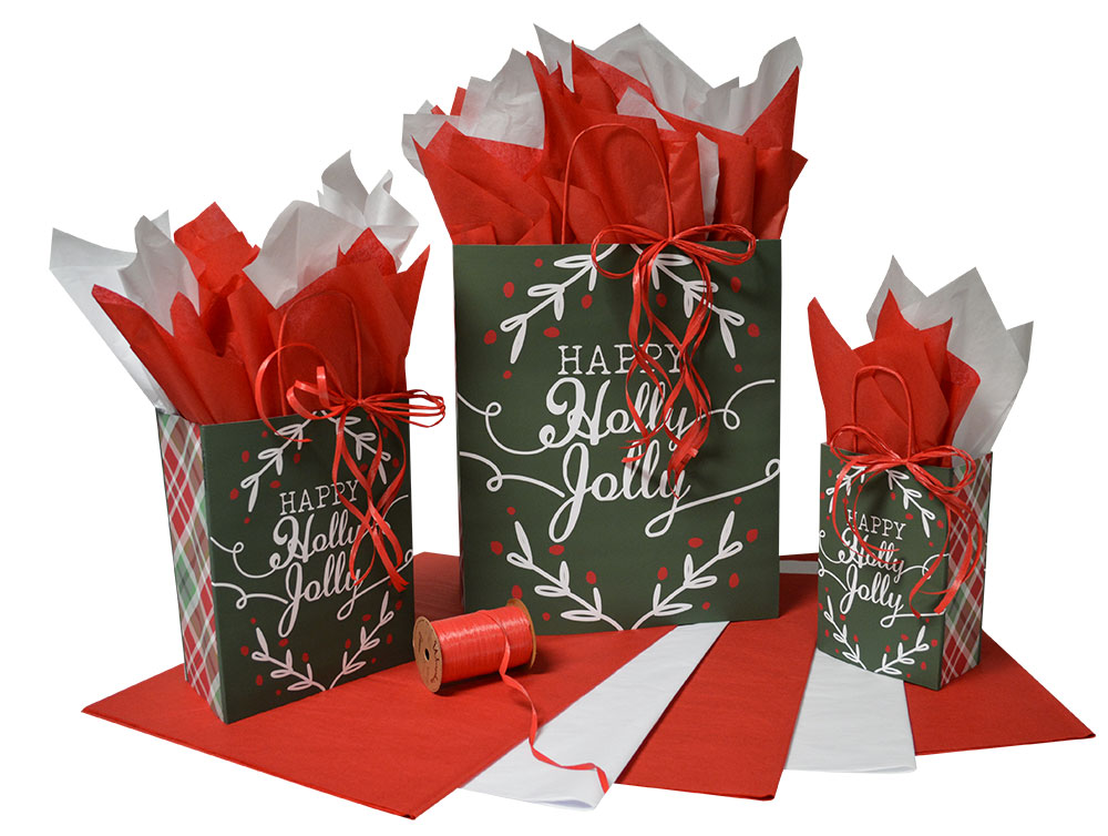 Happy Holly Jolly Paper Shopping Bags