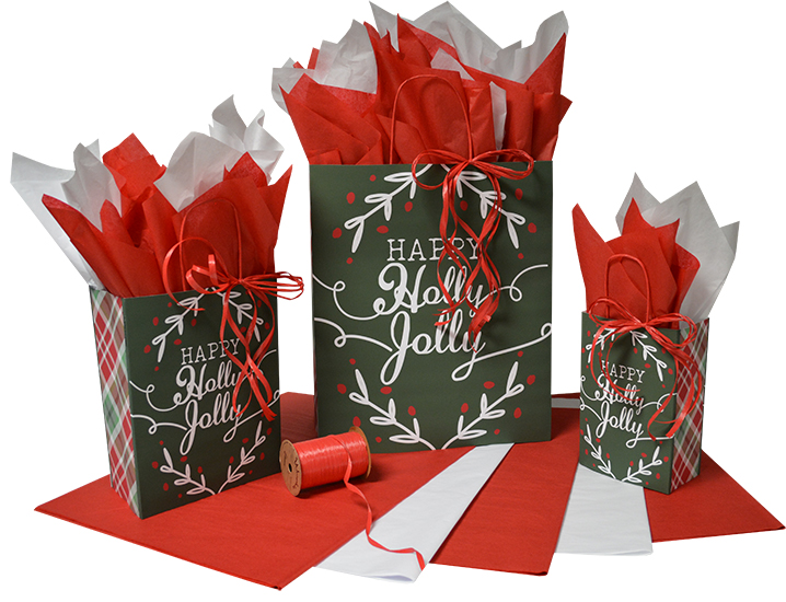 Happy Holly Jolly Paper Shopping Bags  (Closeout)