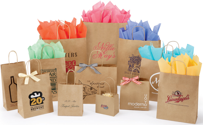 Custom Natural Kraft Shopping Bags (Ink Printed)