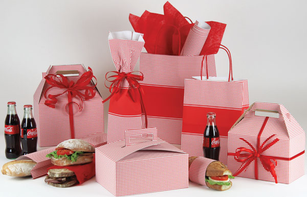 Red Diamond Check Paper Shopping Bags