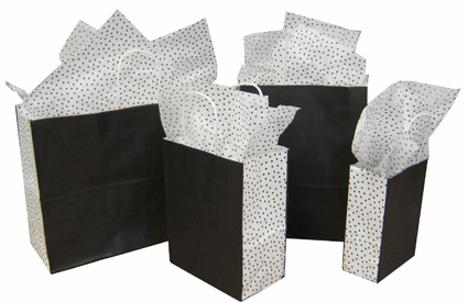 Speckled White Paper Shopping Bags