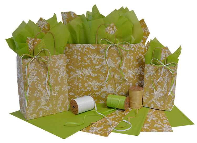 Spring Flowers on Kraft Shopping Bags