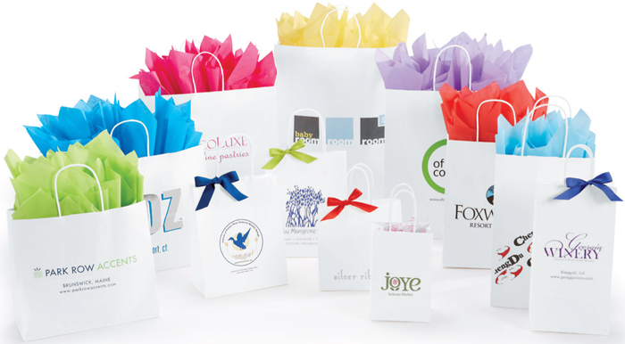 Custom White Kraft Shopping Bags (Ink Printed)