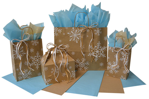 White Snowflakes on Kraft Shopping Bags