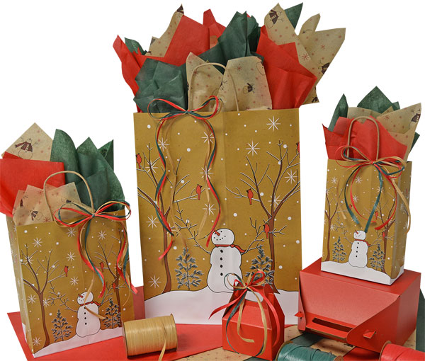 Woodland Snowman Shopping Bags