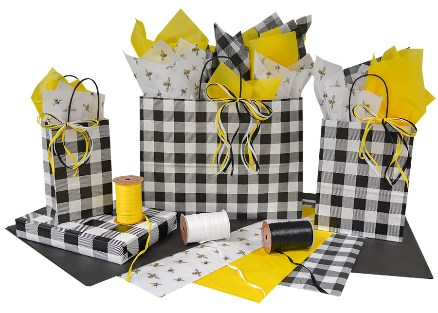 Black & White Plaid Shopping Bags