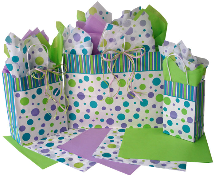 Cabana Stripes and Dots Paper Shopping Bags