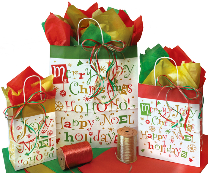 Christmas Typography Paper Shopping Bags