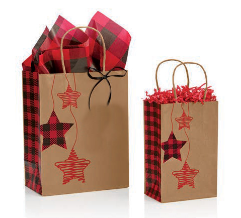 Festive Flannel Star Paper Shopping Bags