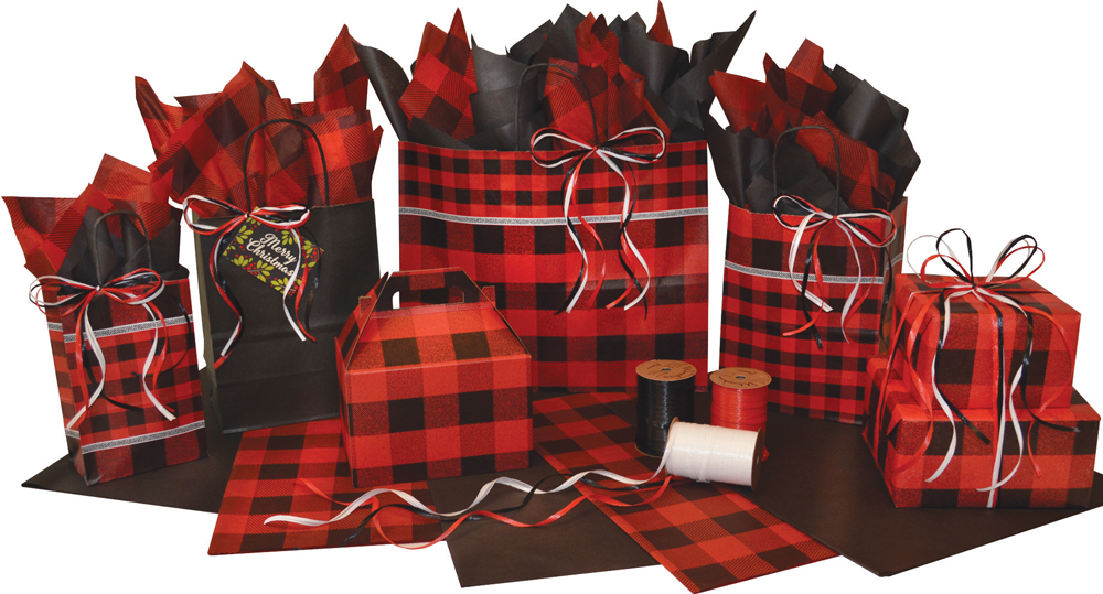 Festive Flannel Paper Shopping Bags