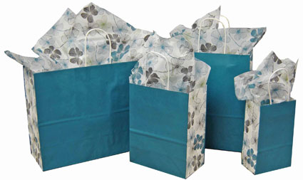 Floral Lines Paper Shopping Bags