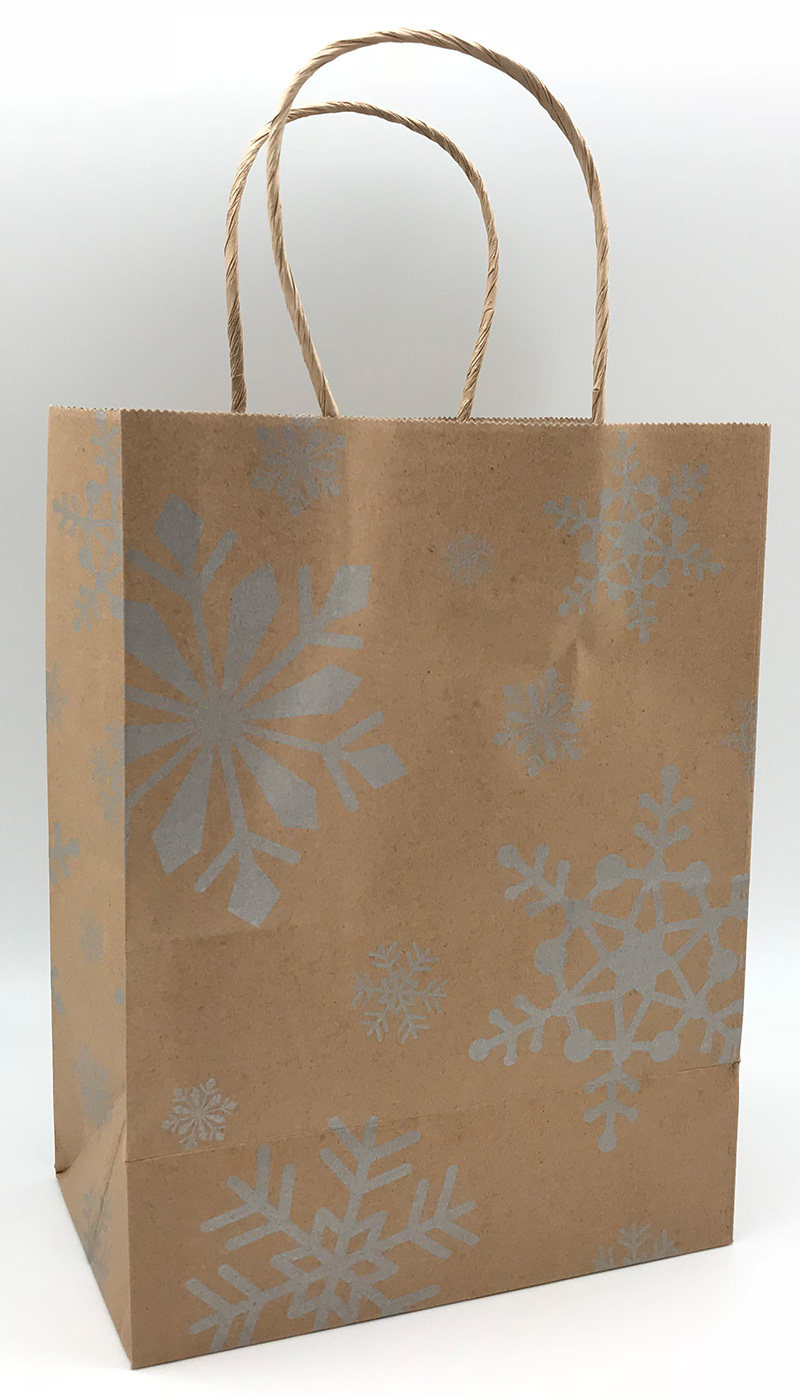 Metallic Silver Snowflakes on Kraft Shopping Bags