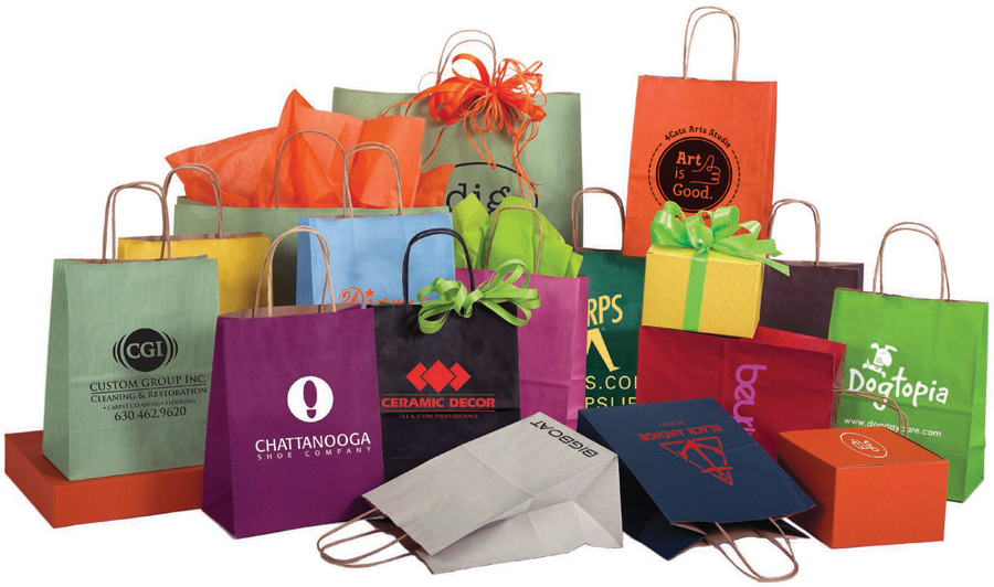 Custom Shadow Stripe Shopping Bags (Hot Stamped)