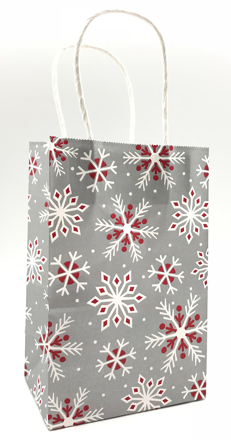 Metallic Red Snowflakes on Silver Shopping Bags