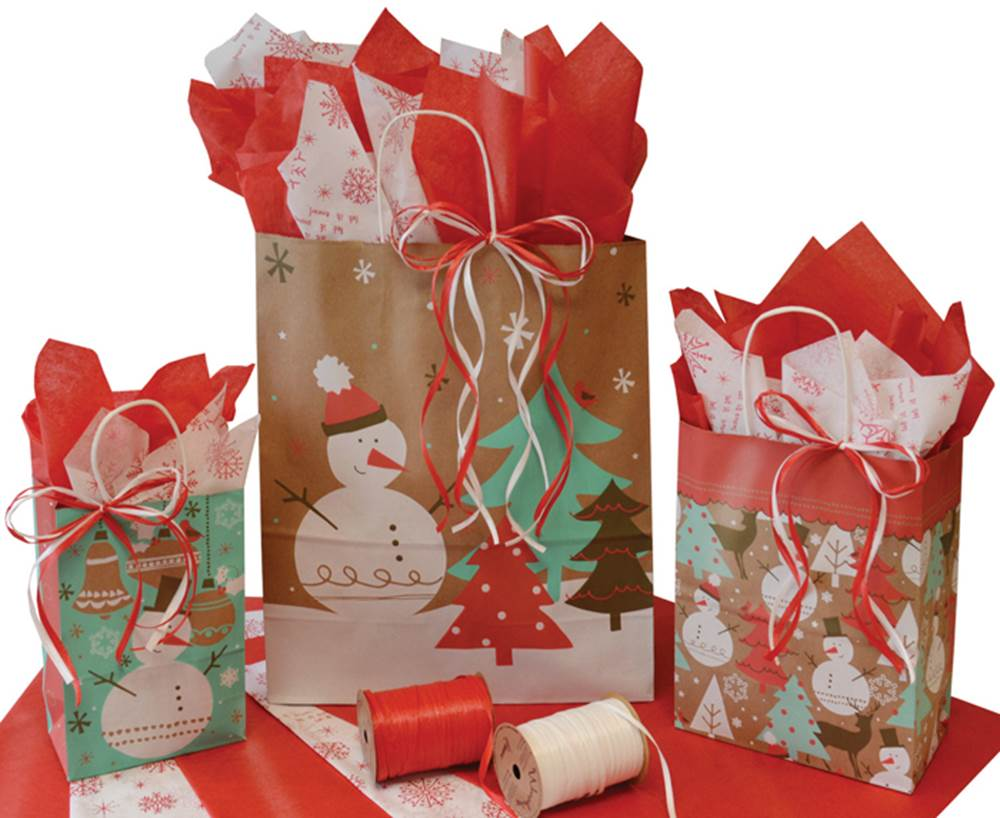 Winter Frost Paper Shopping Bags (Closeout)