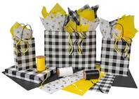 Black and White Plaid Paper Shopping Bags (Cub)
