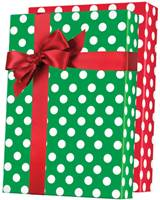 Christmas Polka Dot Gift Wrap (Reversible) Wholesale Gift Wrap Paper, Christmas Gift Wrap Paper