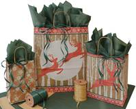 Christmas Woodland Paper Shopping Bags (Pup)