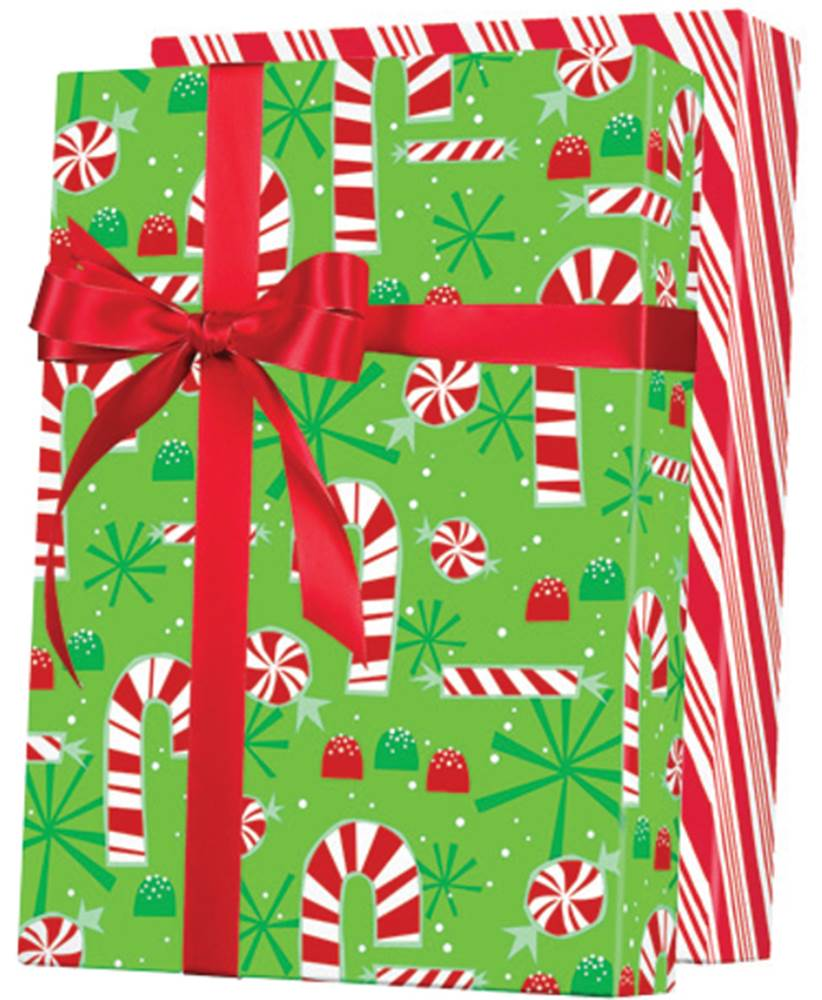Christmas Gift Wrap Paper - Contempo Canes Gift Wrap (Reversible ...
