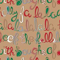 Deck The Halls Kraft Gift Wrap Paper