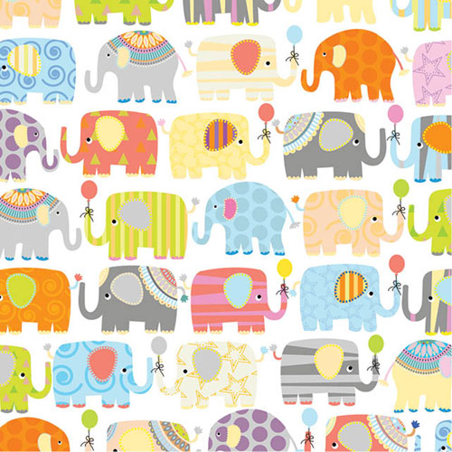 Baby Gift Wrap Paper Elephant Parade Gift Wrap Paper B138