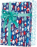 Gone Fishin Reversible Gift Wrap Wholesale Gift Wrap Paper, Celebration Gift Wrap Paper, Kids Gift Wrap Paper, Birthday Gift Wrap Paper