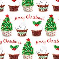 Merry Christmas Cupcakes Gift Wrap - FREE FREIGHT