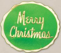 Merry Christmas Green on Gold Round Gift Seals