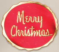 Merry Christmas Red on Gold Round Gift Seals