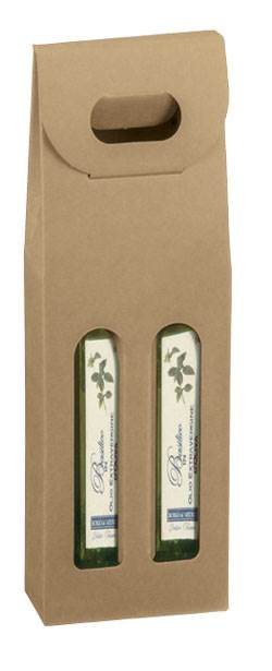 Natural Kraft Olive Oil Carrier (200ml) 2 Bottle Box