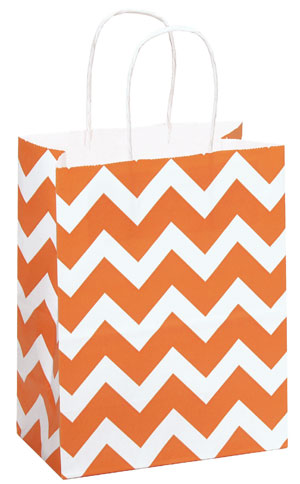 Bright Everyday Paper Shopping Bags - Orange Chevron Paper ...