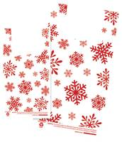 Red Snowflakes on White T-Shirt Bags (Medium)