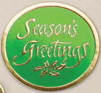 Seasons Greeting Green on Gold Round Gift Seals