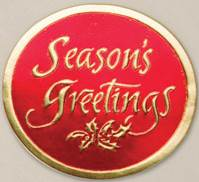 Seasons Greetings Red on Gold Round Gift Seals