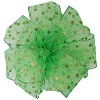 Sheer Polka Dot Lime Wired Ribbon