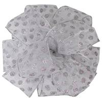 Sheer Polka Dot Silver Wired Ribbon