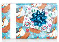 Sledding Snowman Gift Wrap Paper (Reversible)